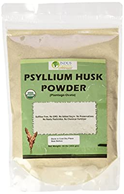 Indus Organics Psyllium Husk Powder 1 Lb Bag, Premium Grade, Freshly Packed by Indus Organics
