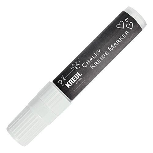 Kreul 22731 - Chalky Kreidemarker XXL, matte, non-permanente Flüssigkreide, zum Zeichnen auf Tafeln, Memoboards oder Glasoberflächen, mit formstabiler Keilspitze ca. 15 mm, Snow White