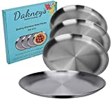 Stainless Steel Plates, Set of 4, 10-inch, Metal Plate Size Option for Eating Dinner, Camping, and...