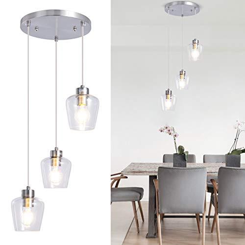 Lámpara colgante de cristal de 3 luces, lámpara de araña clásica, níquel cepillado, lámpara colgante con pantallas de cristal transparente para isla de cocina, comedor, bar, cafetería