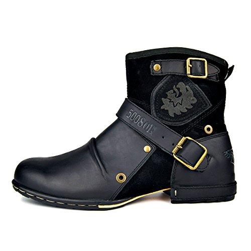 OSSTONE Botas Para Moto Botines Hombre De Invierno Piel Zapatos Negras Vestir Nieve Piel Forradas Calientes Planas Combate Militares Cremallera Boots 5008-1-BLACK-FUR-7.5