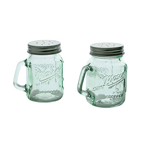Mason Jar Salt and Pepper Shaker - Clear Glass Green