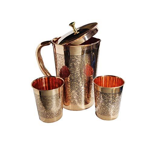 NK GLOBAL Geprägter Kupferkrug Indische Antike Weinflasche Krüge mit gesundheitlichen Vorteilen Geschenkset 3-tlg