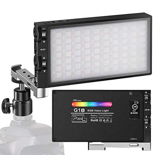 Luz LED Cámara RGB Pixel G1s, Batería Recargable Incorporada de 12W Antorcha Led Video 360 ° Color 12 Efectos de Luz, CRI≥97 2500-8500K Focos Iluminacion Fotografia con Cuerpo Aleación Aluminio