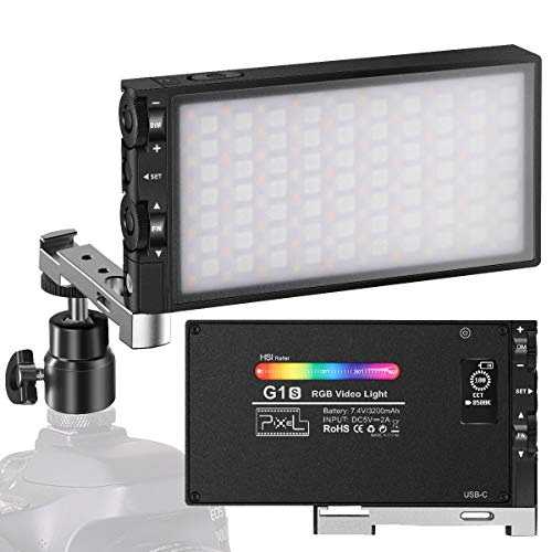 Pixel G1s RGB Video Light, Built-in 12W Rechargeable Battery LED Camera Light 360 Full Color 12 Common Light Effects, CRI97 2500-8500K LED Video Light Panel with Aluminum Alloy Body
