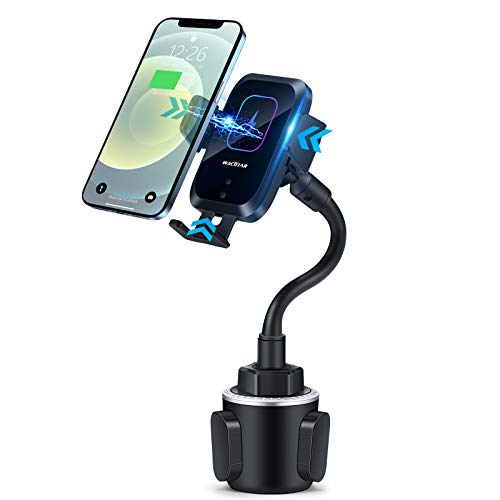 Piosoo Wireless Car Charger-Cup Holder Phone Mount,Automatic Infrared Smart Sensor Clamping Qi 15W Fast Universal Adjustable Cell Phone Wireless Charging Air Vent Cradle
