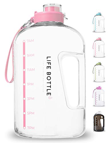 Price comparison product image Life Bottle! Time Marked Water Bottle - 1 Gallon Water Bottle with Time Marker - Extra Large Water Bottle / Water Jug Helps You Drink More Water! BPA Free Water Bottle with Leakproof with Flip Top