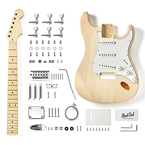 Bad Cat Instruments 6 Strings Solid Basswood ST Style Maple Neck Electric Guitar Builder Kit