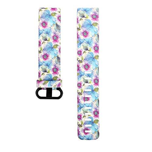 Deng Xuna 17 Farben Uhrenarmband,Ersatz Mode Armband Blumenmuster Silikonband Uhrenarmband für Fitbit Charge 3 (M)