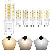 HOMEOW G9 LED Tri-Colors 2700K 4000K 6000K Bombilla Blanca Cálida Naturale Fría 5W Equivalente a Halógena 50W 450 Lúmen...