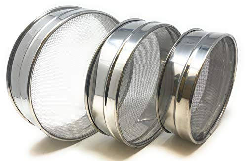 Stainless Steel Sieve ~ Set of 3 ~ for Flours, Seeds, Beans & Lentils - Sizes 6.7