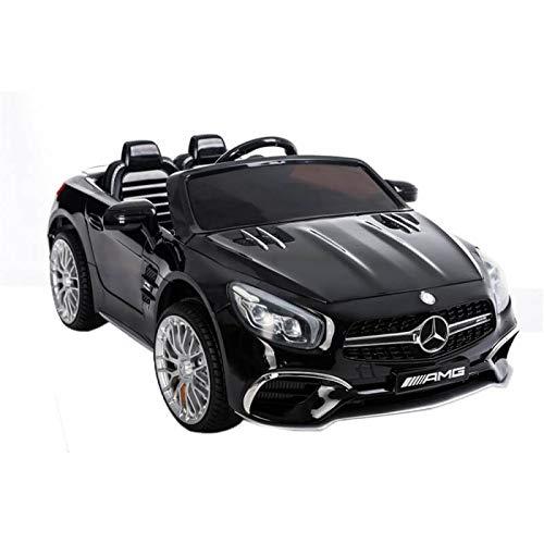 Mercedes SL65 con Mando y batería 12v- Asientos en Piel, Ruedas de Goma - Coche eléctrico para niños- Negro
