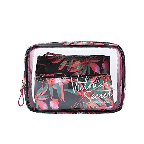 Style de Portable PVC Marque Sac étanche cosmétiques Voyage de PORTIER Trousse de Toilette Mode Transparent (Color : Black)