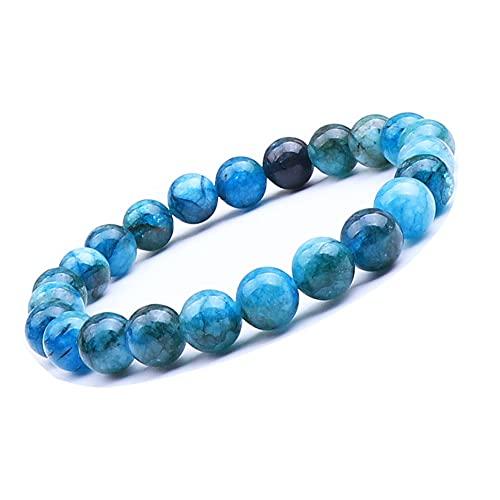UEUC - Pulsera de piedras preciosas naturales para mujeres y hombres, piedras preciosas de chakra de 8 mm, perlas redondas de cristal de cuarzo, pulsera extensible (#1)