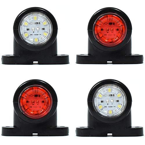 Lot de 4 feux de position latéraux arrière blancs à LED pour remorque, bus, SUV, caravane, camionnette, 12 V