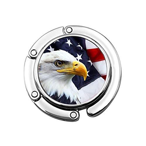 Handtaschenhaken, winkende amerikanische Flagge mit Glatzenadler, faltbarer Handtaschen-Aufhänger für Tisch, Handtasche, Dekoration, Tischhaken, Damen-Tasche, Handtaschen-Aufhänger