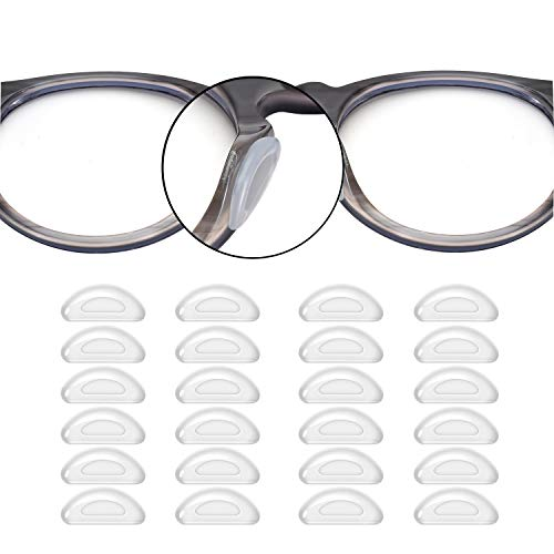 SMARTTOP Eyeglass Nose Pads, 12 Pairs Stick On Silicone Anti-Slip Adhesive Nose Pads Cushions for Eyeglasses Sunglasses Thin Nose Pads (Clear)