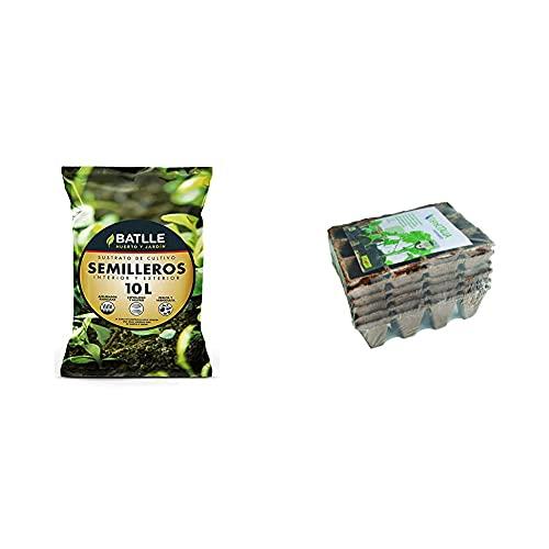 Batlle Sustratos Sustrato Semilleros 10L. + Flower 55044 55044-Semilleros Biodegradables, 12 Cavidades, 6 Unidades