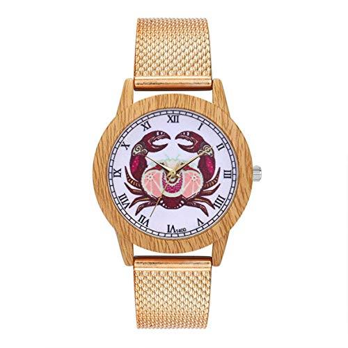 CHOUCHOU Colgante Pendientes Cuarzo con Encanto Moda Casual de Las señoras del Reloj Redondo Grande Reloj de Pulsera Accesorios de la joyería DecorationT400-F, Color: Oro (Color : Rose Gold)