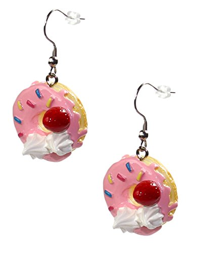 budawi® - Donut Ohrringe mit Streusel und Sahne, Süßigkeiten Kuchen Ohrringe