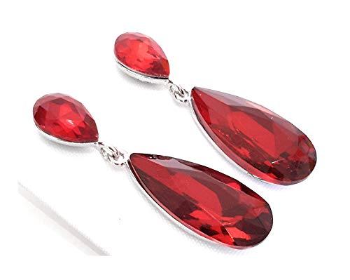 Pendientes Largos Mujer Bisutería Cristales de Colores Fiesta Boda Forma Lágrima Chapado Plata, Rojo