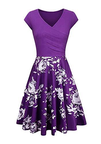 YMING Damen Casual Flügelärmel Kleid Kurzarm Kleid Elegant Partykleider Blumen/Violett M