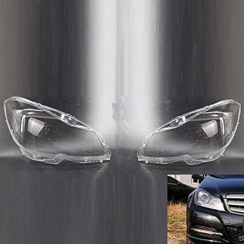 LQIAN Paare Der Headligt Objektivabdeckung Gepasst Fit for Mercedes Benz C-Klasse W204 2011-2015 Lampshade Shell Cover