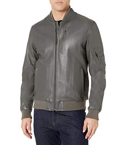 BUGATCHI Men's Classic Fit Leather Bomber Jacket, Gray, Large