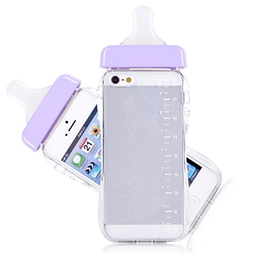 Qingsun 3D TPU Soft Baby Bottle Clear Case Lanyard Case Cover for Apple iPhone 5/5S with Phone Strip(Purple)
