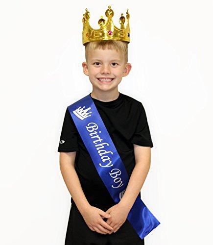 Cornucopia Brands Birthday Boy Blue Sash & Gold Crown (2-Piece Set); Party Accessory Set for Boy