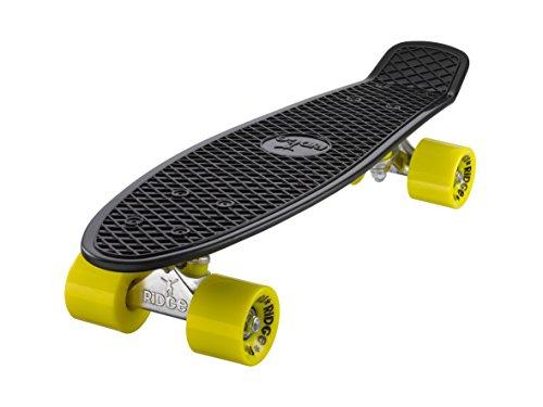 Ridge Skateboard 55 cm Mini Cruiser Retro Stil In M Rollen Komplett U Fertig Montiert, Unisex, Negro/Amarillo (Noir/Jaune)