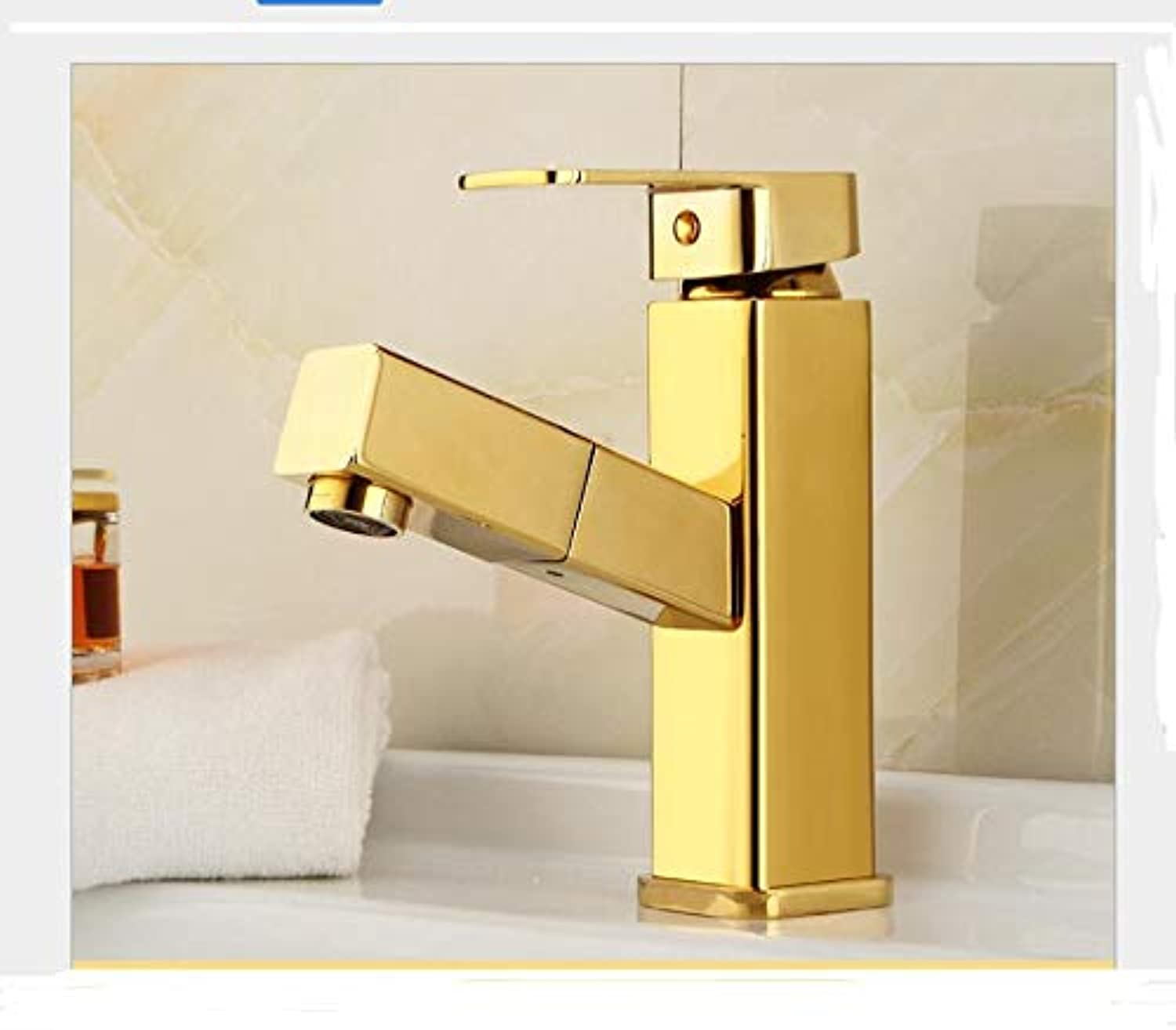 BBQBQ Copper fashion gold basin faucet mixed water wash basin high-end faucet B