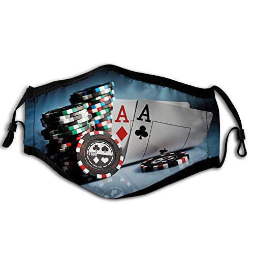 Reusable Face Shield Mouth Scraf Poker Tournament,Gambling Chips and Pair Cards of Aces Casino Wager Games Hazard Print,Multicolor decorations for Unisex adults