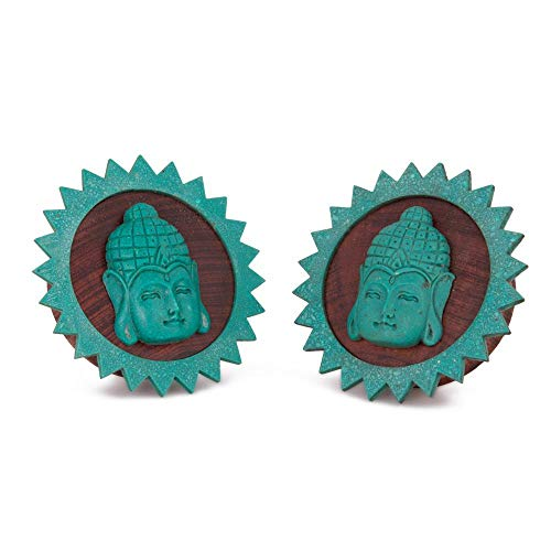 Elementals Organics Red Tigerwood Wood Plugs for Ear – Ear Gauge with Carved Turquoise Resting Buddha, 18mm, 11/16 Inch, Price Per 1 Earring