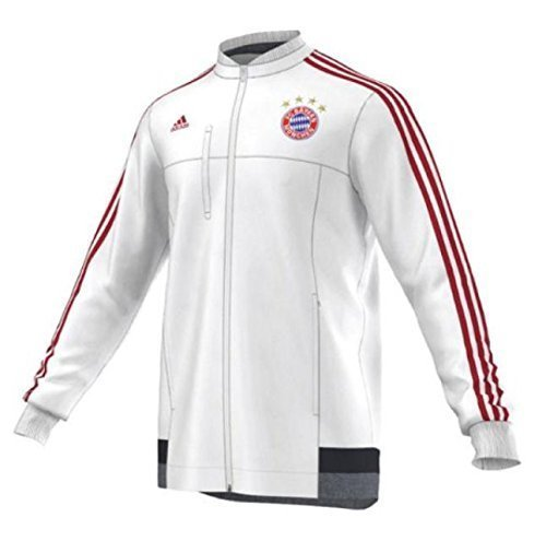 adidas Herren Jacke FC Bayern München Anthem, White/Power Red/Night Navy/Grey, XS