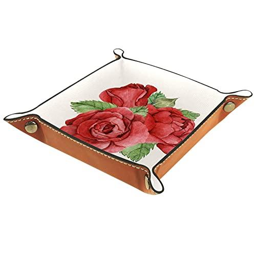 Caja de almacenamiento de dados de rosa roja para joyería cambio