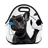 ADONINELP Bolsa de almuerzo portátil,bolsa Bento,perro cachorro con gafas de sol,juego de fútbol,paquete de neopreno con cremallera para la escuela,trabajo,oficina,bolso de viaje