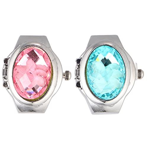 UKCOCO 2 Piezas de Reloj de Anillo para Mujeres Y Hombres Reloj de Cuarzo Analógico Números Árabes Creativo Cristal Dedo Reloj Flip- up Cubierta de Color Surtido