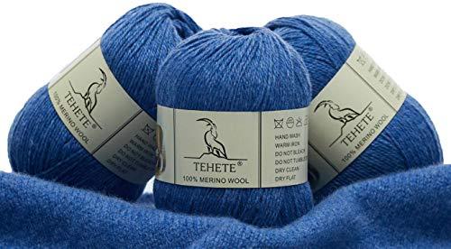 TEHETE Ovillo de lana, 100% Hilados de lana merino Hilo 3 Bolas x 50g para manta, suéter calcetín, bufanda, diy, ganchillo y tejido(Violeta Azul)