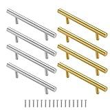 8 unidades/4 pares de manijas de metal de resina de bandejas de resina de acero inoxidable dorado y plateado asas de hardware a granel para bandeja de servir de silicona, cajón de cocina