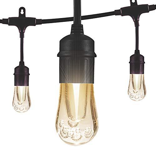 Enbrighten Vintage LED Cafe String Lights, Black, 48 Foot Length, 24 Impact Resistant Lifetime Bulbs, Premium, Shatterproof, Weatherproof, Indoor/Outdoor, Commercial Grade, UL Listed, 35631