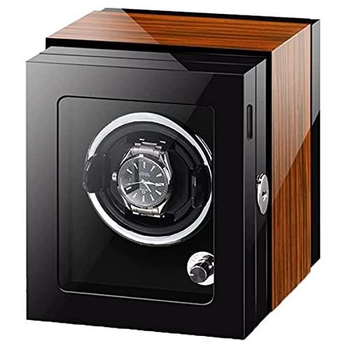 Devanadera Automática De Lujo para Relojes De Hombre Y Mujer Vitrina De Reloj con Pintura De Piano Luz LED Exterior Motor Silencioso Mabuchi,Ebony