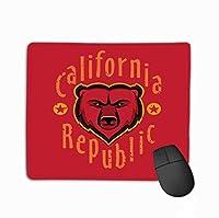 カスタムマウスパッド、ユニークなプリントマウスマットデザインカリフォルニア州アパレルファッションデザイングリズリーベアヘッドアートインク描画ゴールデン状態