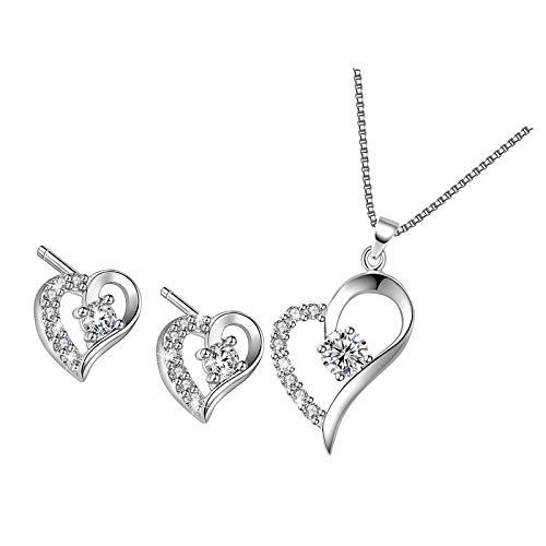 Collar con colgante de corazón para mujer con colgante y pendientes de plata de ley