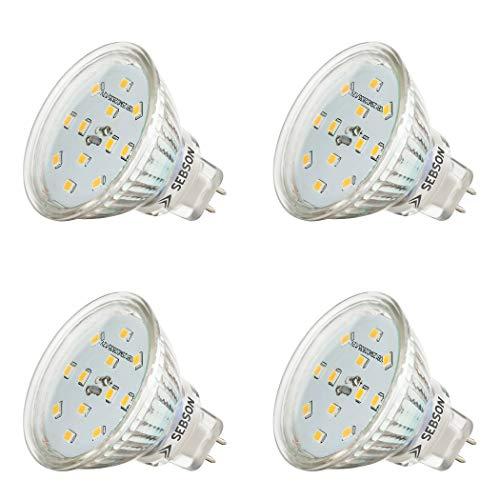 SEBSON® LED Lampe GU5.3 / MR16 5W warmweiß 3000k, ersetzt 35W, 420lm, Ra97, 12V DC LED Leuchtmittel, Einbaustrahler flimmerfrei, 4er Pack
