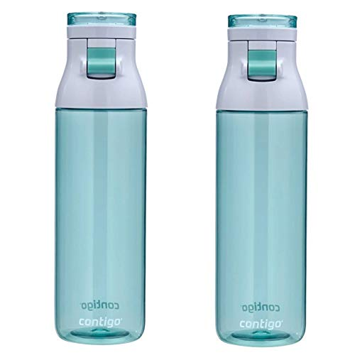 Contigo Jackson Water Bottle 24oz Jade Flip-Top Cap BPA Free Plastic (2-Pack)