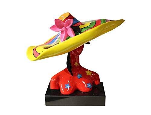 Meubletmoi - Busto da Donna Rosso a Cappello – Oggetto Decorativo Multicolore in Resina e Vernice Laccata – Lady Yellow Hat
