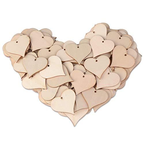 Kuinayouyi Etiquetas de madera con forma de corazón con forma de corazón, para manualidades de boda, proyectos de bricolaje, tarjetas, 100 unidades