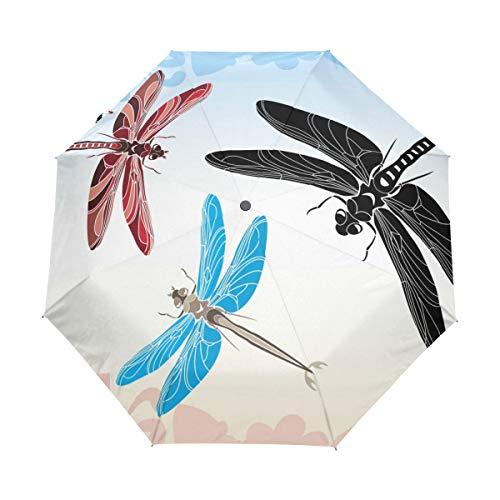 Kompakter Reise-Regenschirm mit Libellen-Schablone, automatisches Öffnen, Schließen, Winddicht, UV-Schutz