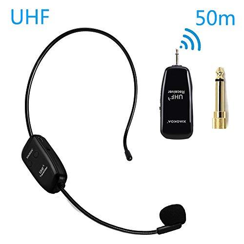 XIAOKOA Draadloze Microfoon,UHF Wireless Microphone,50m Draadloze Transmissie,Hoofdband en Handheld 2-in-1,voor Toeristische Gids/Onderwijs/Promotie/Toespraak